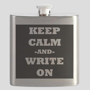 Keep Calm And Write On (Black) Flask