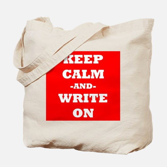 Keep Calm And Write On (Red) Tote Bag