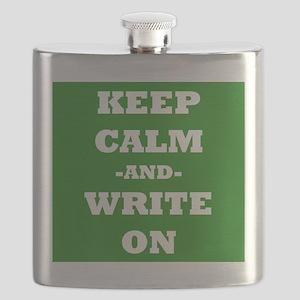 Keep Calm And Write On (Green) Flask