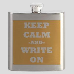 Keep Calm And Write On (Orange) Flask