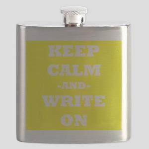Keep Calm And Write On (Yellow) Flask