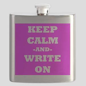 Keep Calm And Write On (Pink) Flask