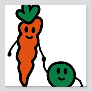 "carrot_and_pea Square Car Magnet 3"" x 3"""