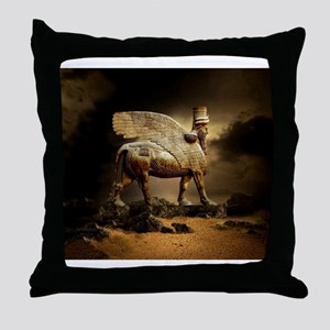 Winged Bull Throw Pillow