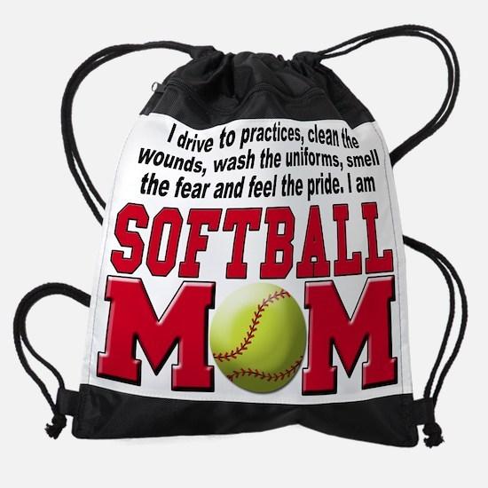 softball mom a.png Drawstring Bag