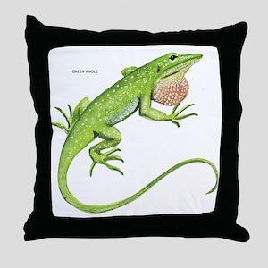 Green Anole Lizard Throw Pillow