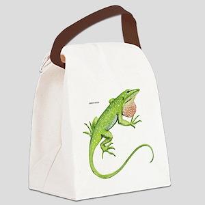 Green Anole Lizard Canvas Lunch Bag