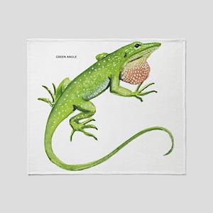 Green Anole Lizard Throw Blanket