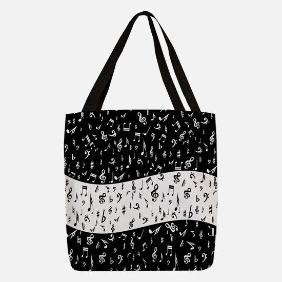 Black and white music pattern Polyester Tote Bag