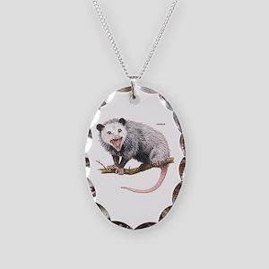Opossum Possum Animal Necklace Oval Charm