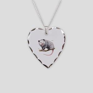 Opossum Possum Animal Necklace Heart Charm