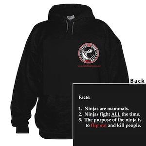 Ninja Facts Black Hooded Sweatshirt