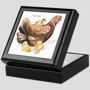 Hen and Chicks Chicken Keepsake Box