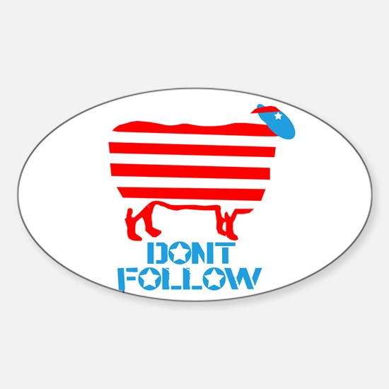 SHEEPLE - Dont Follow! Oval Decal