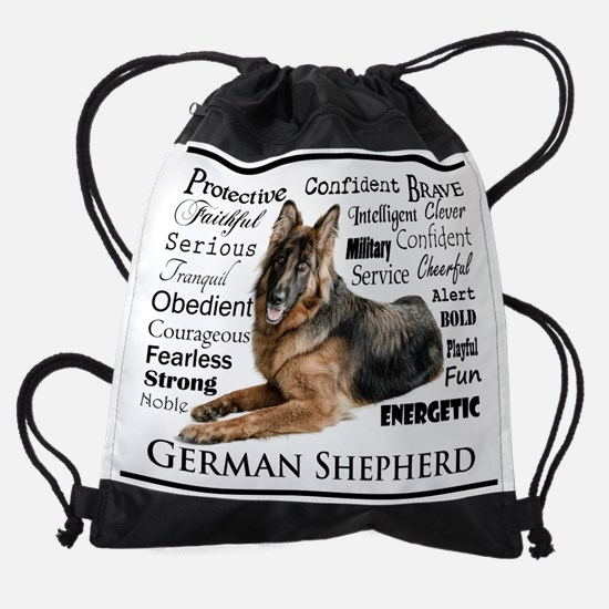 German Shepherd Traits Drawstring Bag