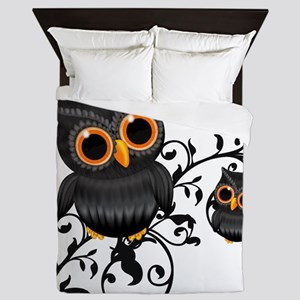 Black And Orange Cute Owl Queen Duvet