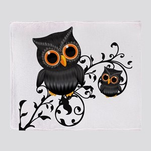 Black And Orange Cute Owl Throw Blanket