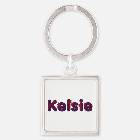 Kelsie Red Caps Square Keychain