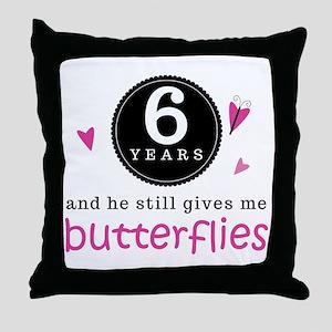 6th Anniversary Butterflies Throw Pillow