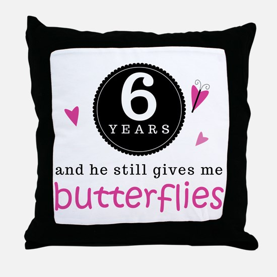 6th Anniversary Butterflies Throw Pillow