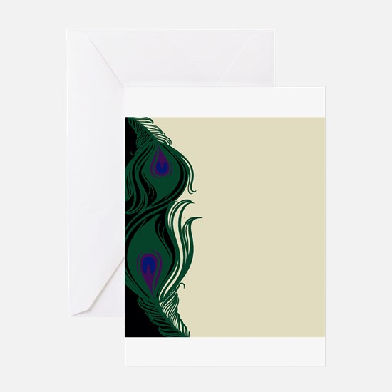 Peacock Feathers Border Greeting Card