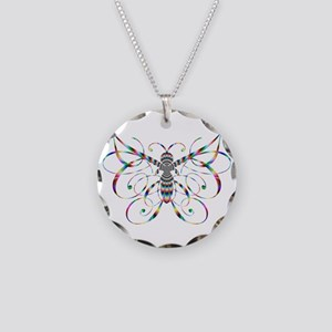 Rainbow Butterfly Necklace Circle Charm