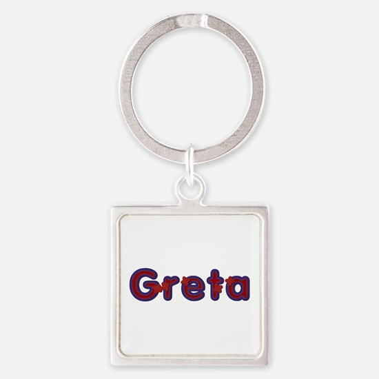 Greta Red Caps Square Keychain