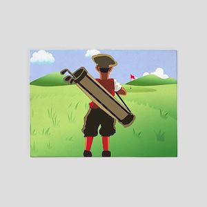 Funny Cartoon Golfer 5'x7'Area Rug