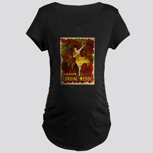 French Wine Maternity Dark T-Shirt