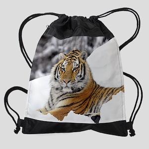 Tiger In Snow  Drawstring Bag