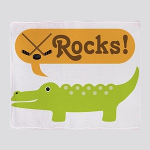 Hockey Rocks Alligator Throw Blanket