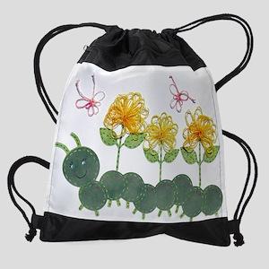 Tatted Caterpillar Garden Drawstring Bag
