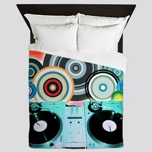DJ Turntable and Balls Queen Duvet