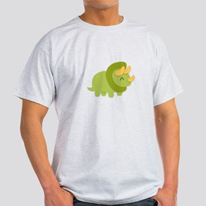 Kawaii cartoon of green and yellow Triceratops T-S