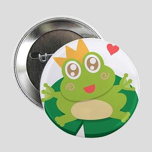 "Kawaii cartoon of frog prince on a lily pad 2.25"""