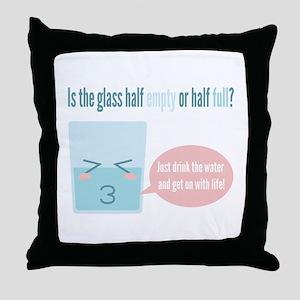 Funny glass half full cartoon Throw Pillow