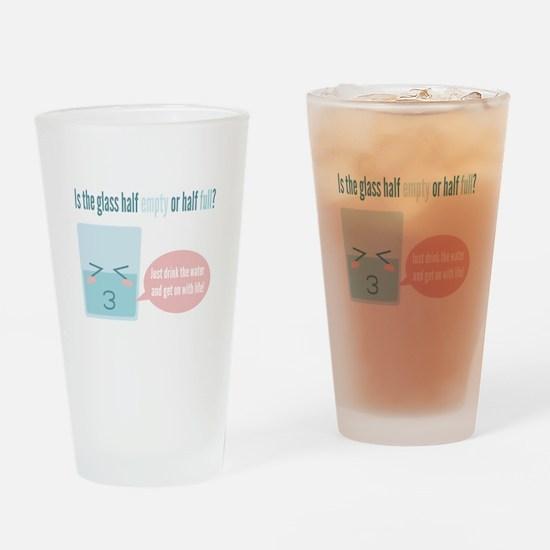 Funny glass half full cartoon Drinking Glass