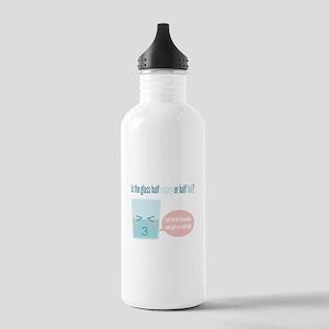 Funny glass half full cartoon Water Bottle