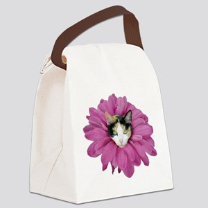 Calico Cat Flower Canvas Lunch Bag