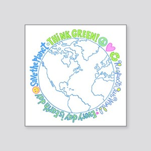 "Think Green World Square Sticker 3"" x 3"""