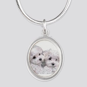 Bichon Frise Silver Oval Necklace