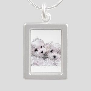 Bichon Frise Silver Portrait Necklace
