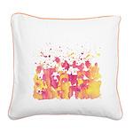 Pink Banana Burst Square Canvas Pillow