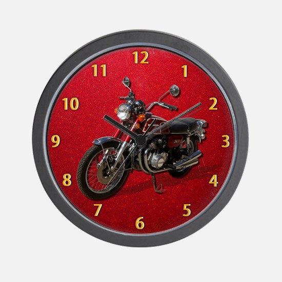 Red Motorcycle Clock Wall Clock
