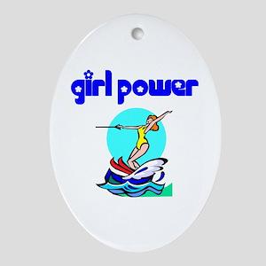 Girl Power Waterskiing Ceramic Ornament