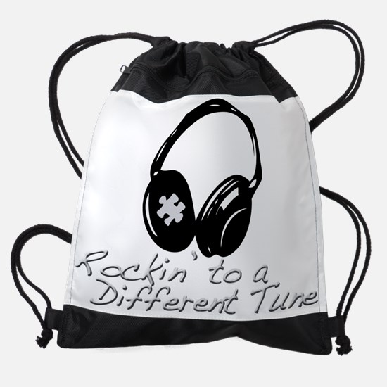 Rockin to a Different Tune Silver Drawstring Bag
