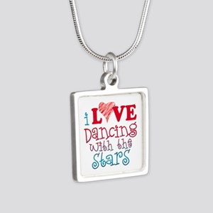 I Love Dancing wtih the Stars Silver Square Neckla