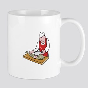 Sushi Chef Butcher Fishmonger Cartoon Mug