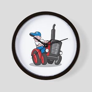 Farmer Driving Vintage Tractor Cartoon Wall Clock