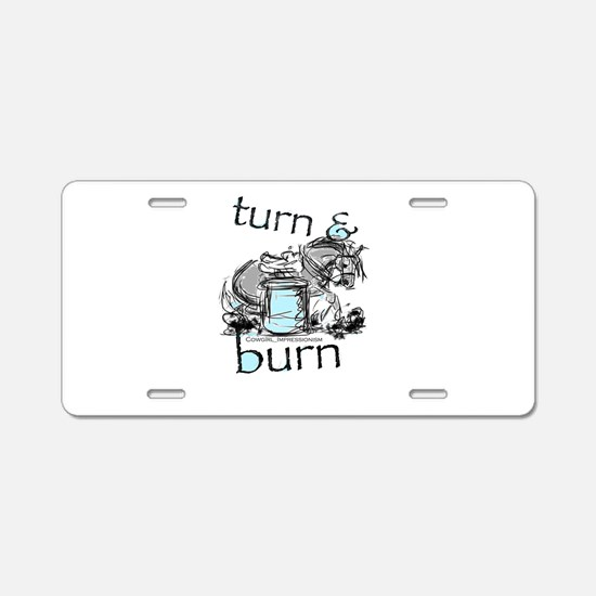 Turn and Burn Barrel Racing Aluminum License Plate